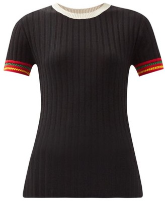 Wales Bonner Saint Ann Striped-cuff Knitted T-shirt - Black Multi