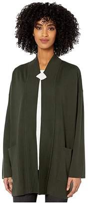 Eileen Fisher Merino Blend Notch Collar Cardigan