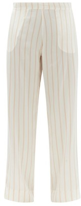 ASCENO London Striped Sandwashed-silk Pyjama Trousers - Pink Stripe