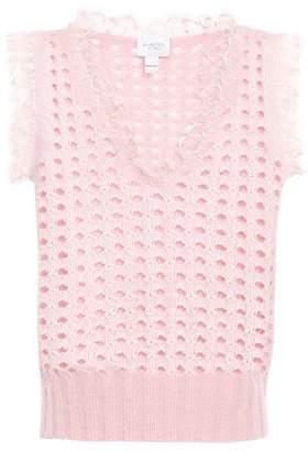 Giambattista Valli Lace-trimmed Open-knit Wool-blend Vest
