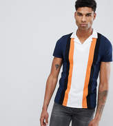 Asos Design Tall Polo Shirt With Retro Vertical Panels And Revere Collar