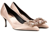 Roger Vivier Flower Embellished Satin Pumps
