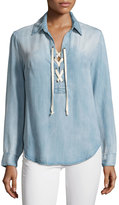 Velvet Heart Delacey Lace-Up Chambray Blouse, Blue