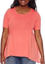 Asstd National Brand Living Doll Short-Sleeve Peplum Top - Juniors Plus