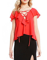 GB Lace-Up V-Neck Flutter-Sleeve Top