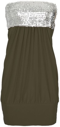 Fashion Star Womens Sheering Boobtube Elastic Sequin Ruched Sleeveless Band Dress Khaki