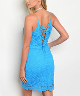 Turquoise Lace Corset-Back Sleeveless Dress