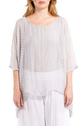 m+ M Made in Italy - Women's Flowy Blouse Top with Kimono Sleeves - Silver - L