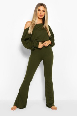 boohoo Cropped Off The Shoulder Ribbed Lounge Set