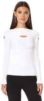 Cushnie et Ochs Boat Neck Top with Cutouts