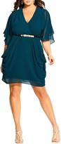 City Chic Belted Chiffon Faux Wrap Dress