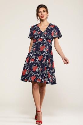 Yumi Navy Poppy Print Tea Dress