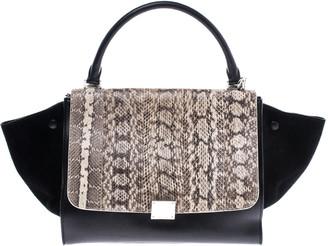 Celine Black/Beige Python/Suede and Leather Medium Trapeze Bag