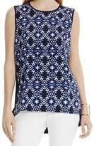 Vince Camuto Blue Women's Size Medium M Printed Hi-Lo Tank Cami Top