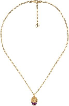 Gucci Lion Head Diamond & Stone Pendant Necklace