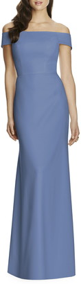 Dessy Collection Off the Shoulder Column Gown