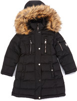 Bebe Black Five-Pocket Hooded Puffer Coat - Toddler & Girls