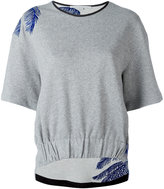 Stella McCartney contrast embroidered T-shirt - women - Cotton/Polyamide - 38