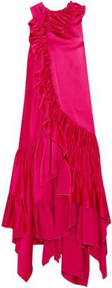 Koché Asymmetric Ruffled Satin Dress