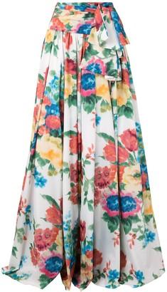 Carolina Herrera Floral Print Long Skirt