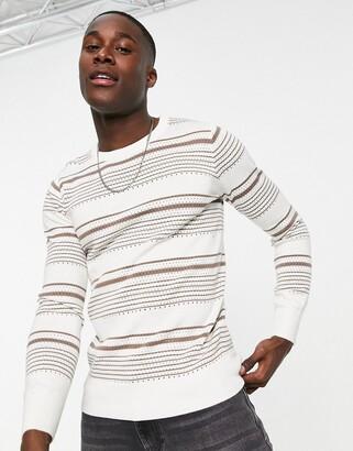 Gianni Feraud brown crochet stripe crew neck sweater