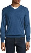 Neiman Marcus Cashmere-Silk V-Neck Sweater