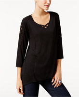Style&Co. Style & Co Lattice-Neck Crochet-Trim Top, Only at Macy's
