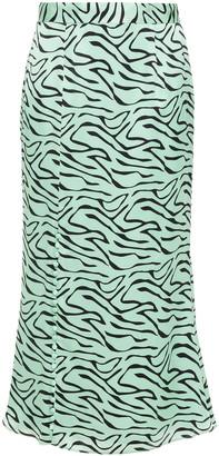 Olivia Rubin Hanna Zebra-print Silk-satin Midi Skirt