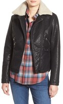 Steve Madden Women's Faux Leather Moto Jacket With Faux Shearling Collar