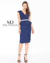 Mac Duggal 85523R Cap Sleeves V-neck Sheath Cocktail Dress