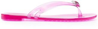 Casadei Crystal-Embellished Jelly Flip Flops
