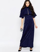 Liquorish Kimono Sleeve Maxi Dress In Burnout Print
