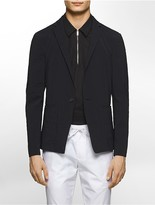 Calvin Klein Platinum Slim Fit Stretch Crinkle Texture One-Button Jacket