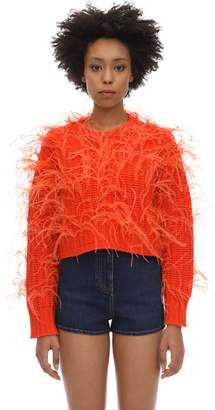 Valentino Cropped Wool Blend Sweater W/feathers