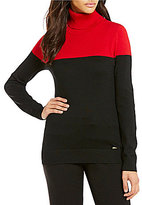 Calvin Klein Colorblock Fine Gauge Turtleneck Sweater
