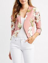 Charlotte Russe Floral Collarless Ruched Sleeve Blazer