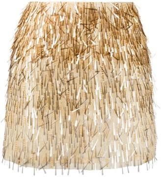 Alberta Ferretti Silk Embroidered Mini Skirt