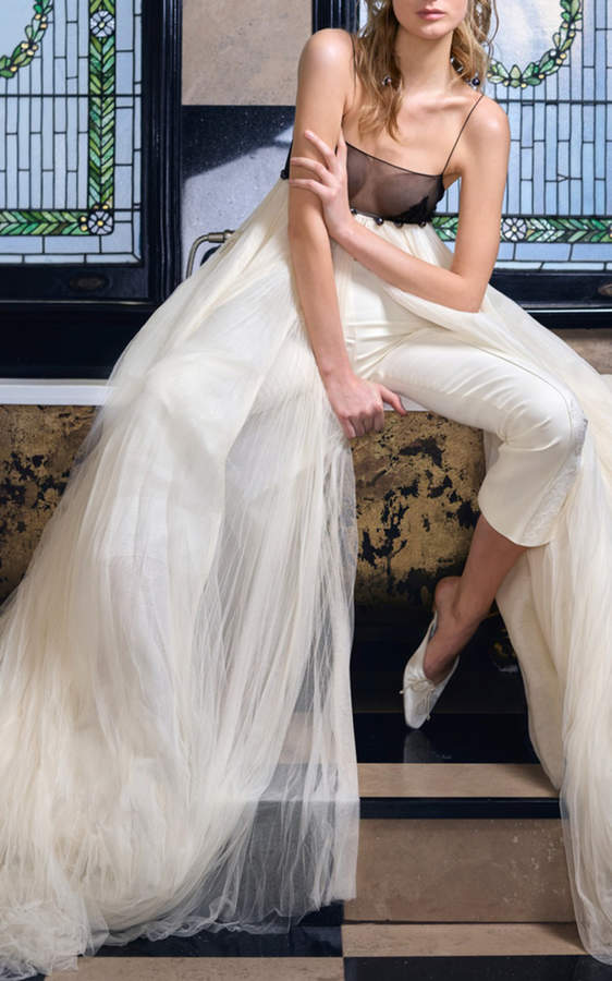 Maeve Danielle Frankel Bridal Pleated Tulle Empire Gown
