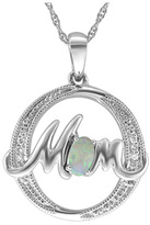 """Zales Oval Lab-Created Opal and Diamond Accent """"MOM"""" Circle Pendant in Sterling Silver"""