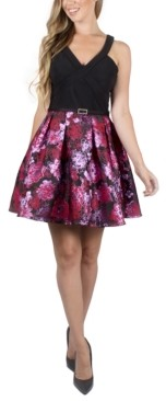 Crystal Doll Juniors' Floral-Skirt Dress