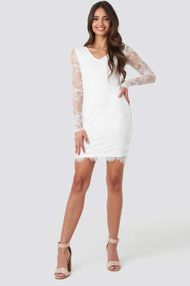 NA-KD V-Neck Long Sleeve Lace Dress White