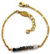 A.V. Max a. v. max NYC Goldtone Black Ombre Rondelles Beaded Fashion Bracelet 7 1/2