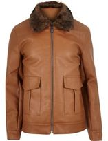 River Island MensBrown leather look jacket