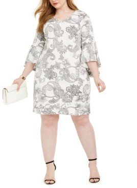 MSK Plus Size Paisley-Print Sheath Dress