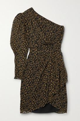 IRO Morello One-sleeve Draped Printed Fil Coupe Silk-blend Mini Dress - Sand