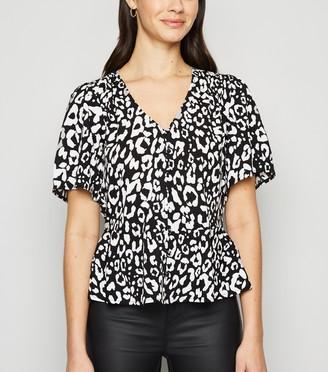 New Look Leopard Print Peplum Blouse