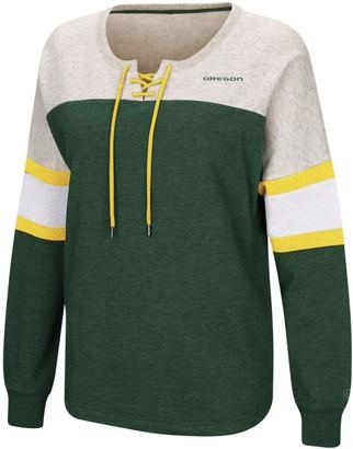 Colosseum Women's Green Oregon Ducks Become Great Lace-Up Pullover Fleece Sweatshirt