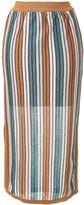 SUBOO Lolita striped-knit midi skirt