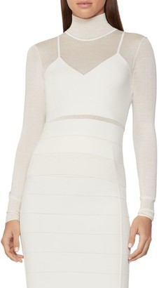 Herve Leger Sporty Sheer Bandage Mockneck Top
