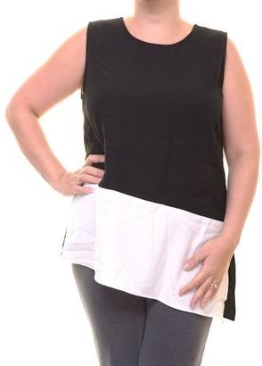 Calvin Klein Women's Sleeveless Blocked Top with Angle Bottom
